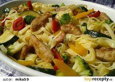 Vepřové nudličky s nudlemi a zeleninou recept - TopRecepty.cz Gnocchi, Pasta Salad, Meat, Chicken, Ethnic Recipes, Asia, Bulgur, Cooking, Crab Pasta Salad