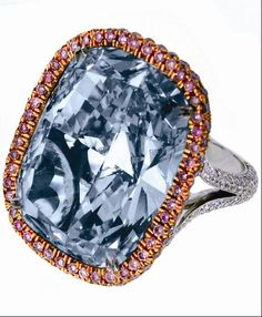 'The Jacob & Company 30.11 Carat Natural Fancy Blue-Gray Cushion Cut Diamond & Pink Diamond Ring' - The VVS2 clarity diamond is mounted on a platinum ring surrounded by 414 diamonds in a micro-pave setting (3.48 carats). It retails for $20 million.