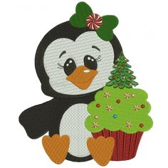 Penguin with Christmas cupcake Filled Machine Embroidery Digitized Design Pattern #christmas #embroidery #applique #cupcake
