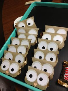 """""""Owl miss you"""" favors (twix inside; just taped closed) Owl Miss You, Classroom Treats, Party Ideas, Gift Ideas, Shower Ideas, Diy And Crafts, Favors, Projects To Try, Baby Shower"""