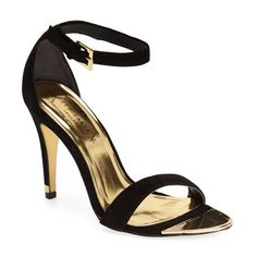 """Ted Baker London 'Juliennas' Leather Sandal, 4"""" heel ($150) ❤ liked on Polyvore featuring shoes, sandals, black suede, leather ankle strap sandals, leather high heel sandal, metallic sandals, black shoes and leather sandals"""