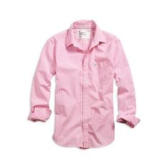 American Eagle AE Men's Striped Shirt Pink found on Polyvore