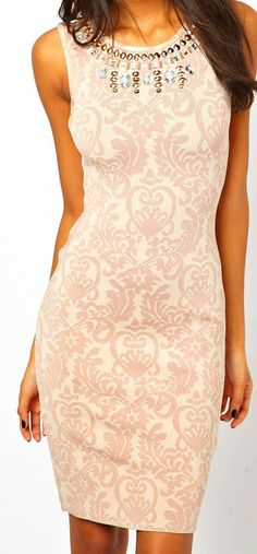 ebfe27ec31a Forever Unique Pencil Dress With Jewelled Neck