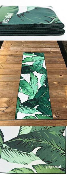 Banana Leaf Yoga Towel - Hot Yoga Towels by Yoga Zeal - Non-slip yoga towel, non toxic, lightweight, durable and uniquely designed (Banana Leaf)
