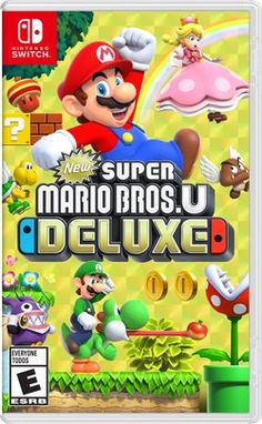 "New Super Mario Bros. U Deluxe is a port from the Wii U game ""New Super Mario Bros. U"" and ""New Super Luigi U""! In this Deluxe version you can play as Mario, Luigi, Toad, Nabbit, and Toadette! When you play as Toadette and grab a mushroom you turn into Pe Super Mario Party, Super Mario World, Super Luigi, New Super Mario Bros, Super Mario Brothers, Nintendo Switch Super Mario, Mario Kart 8, Mario Bros., Mario Toys"