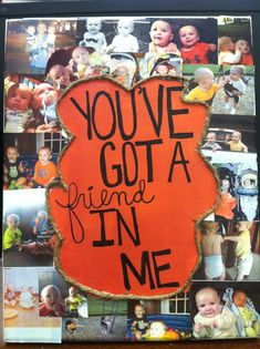 Baby's best friend birthday gift! Modpodge collage on canvas & toy story quote with twine around