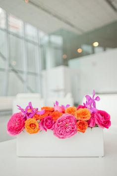 Hot Pink Roses, Hot Orange Roses and Purple Orchids