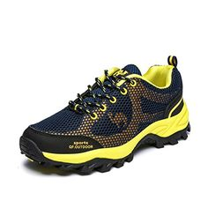 Qifeng Mens Breathable Outdoor Ventilator Walking Hiking Mesh Shoes 75 dark blueyellow * You can get additional details at the image link. (This is an affiliate link) #CampingandHikingFootwear