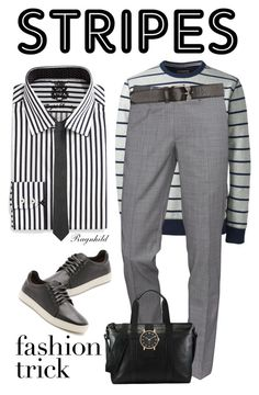 """""""Striped Shirt"""" by ragnh-mjos ❤ liked on Polyvore featuring Lands' End, English Laundry, The Kooples, rag & bone, Alexander McQueen, Marc by Marc Jacobs, Versace, men's fashion and menswear"""
