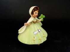 Josef Ireland Figurine Little International Series Young Irish Girl in Green w Shamrock.
