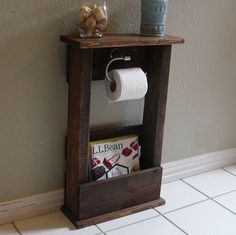 Did rustic free standing loo paper holder for bathroom