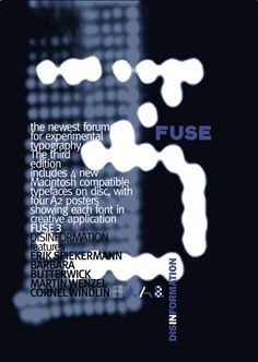Neville Brody, designed to Fuse magazine, i like the way in design the number of 3 and the blurry in background. also the typography and using the colours together the white, black and navy. its grape the eye, very simple and calm. David Carson, Neville Brody, Experimental Type, 90s Design, Punk, Identity, Typographic Poster, Design Poster, Swatch