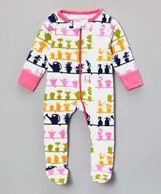 Look at this #zulilyfind! White & Pink Greenhouse Organic Footie - Infant by Sweet Peanut #zulilyfinds