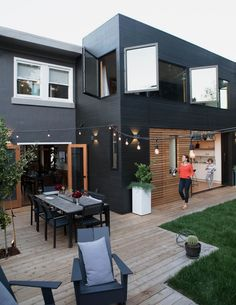 Modern Outdoor Spaces – Homey Oh My – Home Renovation Paint Colors For Home, House Colors, Exterior Paint, Exterior Design, Modern Exterior, Outdoor Spaces, Outdoor Living, Black House Exterior, Casas Containers