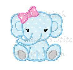Elefantito niña apliques patrón digital máquina embrodery