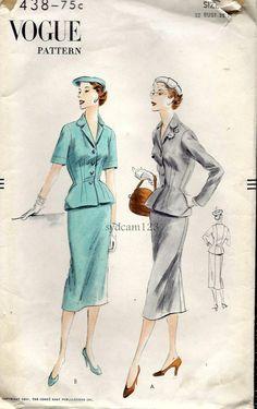 Vogue Vintage 1951 Suit Dress Tailored Jacket Shaped by sydcam123, $18.00