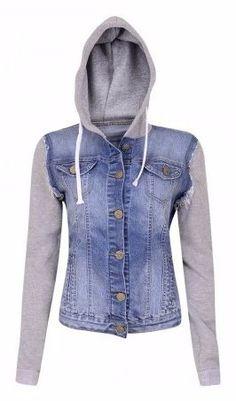 jaqueta jeans moletom casaco capuz agasalho feminina e96a5030edb2d