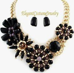 Black Bloom Chunky Statement Necklace Set Elegant Jewelry $21.99