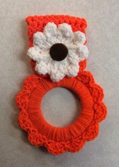 Kitchen towel hanger, orange crochet flower towel hanger, gift idea, party favor, game prize, RV towel hanger. Bright orange, hand crochet