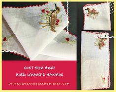 Bird Lovers Embroidered Vintage Handkerchief #VintageVenturesShop #Etsy to buy click image #Bird #BirdLovers #VintageHankie #VintageHandkerchief #LadiesHandkerchief #VintageHankie #MothersDayGift #GiftForHer #BirdLoversGift #Birding #HandEmbroideryHankie