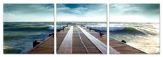 Ocean Dock. Contemporary Art, Modern Wall Decor, 3 Panel Wood Mounted Giclee Canvas Print, Ready to Hang A1021 for only $69.99