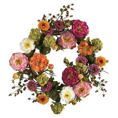 "Nearly Natural Wreath Peony - Multicolor (24"")"