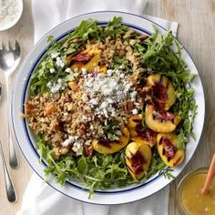 Grilled Peach, Rice & Arugula Salad