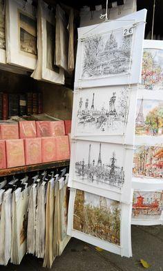 cheap Paris art - ready for framing;  Great to build your art portfolio.
