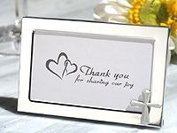 Cross Accented Metal Picture Frame Favors