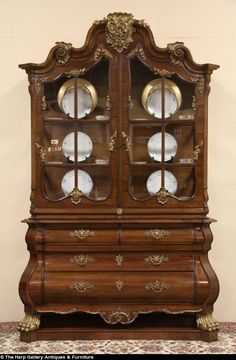 Baroque E Antique 1910 China Or Curio Display Cabinet