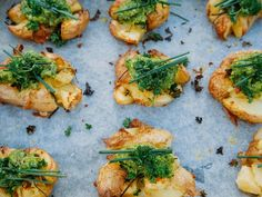 For many families, potatoes are a staple vegetable and are enjoyed in so many different ways. I am always looking for new ways to cook potatoes and recently, I have been enjoying them baked and top… Side Recipes, New Recipes, Crispy Smashed Potatoes, How To Cook Potatoes, Vegetable Dishes, Potato Recipes, Tray Bakes, Salmon Burgers, Pesto