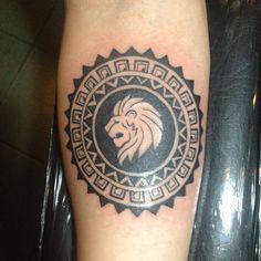 My birthday tattoo #leo #zodiac #polynesian #circle #lion