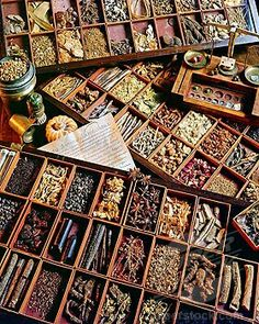 Wooden boxes with various dried herbs in an ancient herbalist shop. Healing Herbs, Medicinal Plants, Natural Healing, Natural Medicine, Herbal Medicine, Rue Verte, Spices And Herbs, Kitchen Witch, Witch Cottage