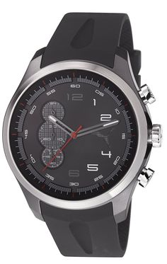 Puma PU103131002 Velocity Chronograph Black Silicone Strap Matte Ionized Stainless Steel Case Watch * Click image to review more details. (This is an Amazon Affiliate link and I receive a commission for the sales)
