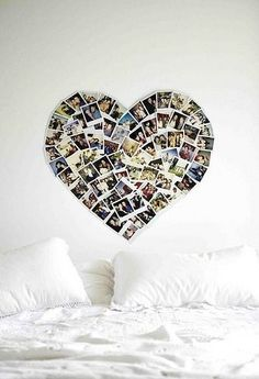 Love this heart photo collage!  Perfect for a teen girl's room, college dorm room, craft room, laundry room, mud room, etc.  :)