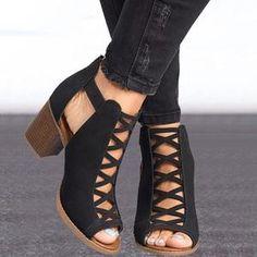 Thick High Heels Peep Toe Shoes Summer Fashion Sandals Ankle Strap Pumps-shoes-V… Dicke High Heels Peep Toe Schuhe Sommermode Sandalen Knöchelriemen Pumps-Schuhe-Vinny Digital Emporium Ankle Shoes, Peep Toe Shoes, Pump Shoes, Women's Shoes, Shoe Boots, Dress Shoes, Dress Outfits, Golf Shoes, Ankle Booties