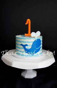 1St Birthday Whale Of A Time Cute little 6 inch smash cake for a 1 year old photo shoot. Buttercream iced and adorned with fondant. The #1...