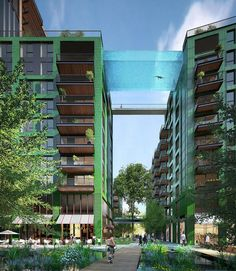 Arup Design a 'Sky Pool' Suspended 35 Metres Above London's Nine Elms,The 'Sky Pool' will be suspended 35 metres above ground level. Image © Hayes Davidson