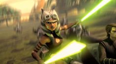"""Ahsoka Tano using the Jar'Kai tactic. Jar'Kai used to be a specific style of lightsaber combat that required specific training. Eventually the word """"Jar'Kai"""" became a blanket term for dual-blade combat in general, leading to the birth of the term """"Jar'Kai tactic"""", which was to simply employ two blades in combat, regardless of whether one had received training in any dual-blade fighting style."""