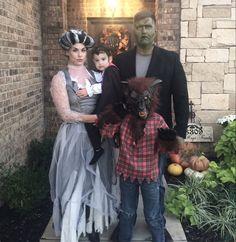 Family Halloween costume traditional Halloween costumes frankenstein bride of Frankenstein warewolf Dracula vampire monster monster bride