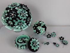 Ensemble de mariage 6 pcs/Bouquet de mariée kanzashi vert et noir/Bouquet de mariage en satini/Fleurs kanzashi/Ruban en satin de la boutique bricoartKAM sur Etsy