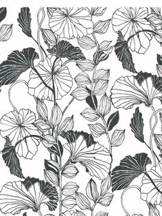 A leafy bower of tangled vines reflects an artist's impression of nature's handiwork. The graphic depiction is elegant in its straight forward rendition. Available in muted pearlescent gold or carbon black on pure white. | AmericanBlinds.com #wallpaper #floral