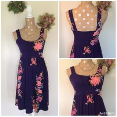 Purple Floral Midi Dress Super Beautiful Purple Dress with Flower Detail ☺️ Great For a Summer Wedding 🌟 Very Flattering 🎉 Very Comfortable and Can Be Dressed Up with a Pair of Heels or Down with Sandals 💋 NWT Measures 36' from shoulder to hem   🚫 NO TRADES 🌟 POSH Rules Only 🌟 🎉 Customized Bundle Discounts 💋 💗 Offers please use offer button below 🔻 Elegance Dresses Midi