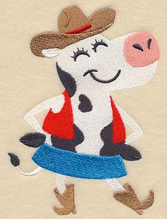 Square Dancing Cow design (L5388) from www.Emblibrary.com