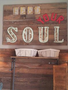 Barn wood sign for hot body yoga.