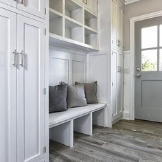 Mudroom Cubbies, Transitional, Laundry Room, Vita Design Group This is what my house needs! Mud room especially! Flooring, House Design, New Homes, Mudroom Laundry Room, Remodel, House, Home Remodeling, Small Mudroom Ideas, Home