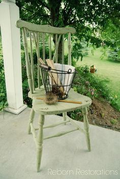 Paint an old chair Miss Mustard Seed milk paint in Luckett's green to set in corner of laundry room.