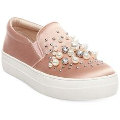 Steve Madden Women's Glamour Pearl-Embellished Sneakers (5.040 RUB) ❤ liked on Polyvore featuring shoes, sneakers, blush satin, embellished sneakers, steve madden, chunky shoes, steve madden sneakers and platform shoes
