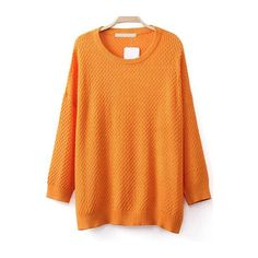 Round Neck Loose Orange Sweater ($18) ❤ liked on Polyvore featuring tops, sweaters, orange, knit sweater, long sleeve knit sweater, sweater pullover, loose fit sweater and loose sweater