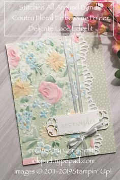 Floral Embossing Folder Gallery Stampin' Up! Stitched All Around with Country Floral embossing by Chris Smith at inkpad.Stampin' Up! Stitched All Around with Country Floral embossing by Chris Smith at inkpad. Handmade Birthday Cards, Greeting Cards Handmade, Embossed Cards, Stamping Up Cards, Card Making Techniques, Paper Cards, Embossing Folder, Flower Cards, Creative Cards